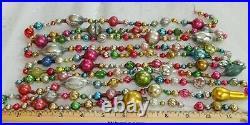 10 1/2 FT 100% Vintage Mercury Glass Christmas Garland Big Beads Antique