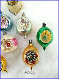 10 Vintage Poland Fantasia Indent Teardrop Ball Glass Christmas Ornaments 2-3