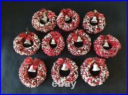 10 Vtg Bottle Brush 3 Wreaths Pink Frosted Mercury Glass Beads Bell Bow Japan
