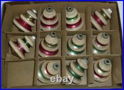 (11) Vtg 1960's Shiny Brite Mercury Glass Ufo Christmas Tree Ornaments With Mica