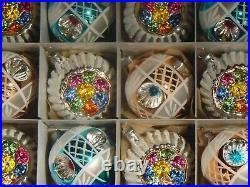(12) Czech blown glass reflector retro vintage style Christmas tree ornaments