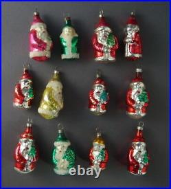 12 VINTAGE BLOWN GLASS SANTAS Christmas tree Ornaments (# 8597)