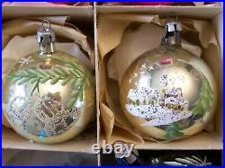 12 VINTAGE MERCURY GLASS CHRISTMAS TREE ORNAMENTS hand painted BALLS SNOWMAN +++