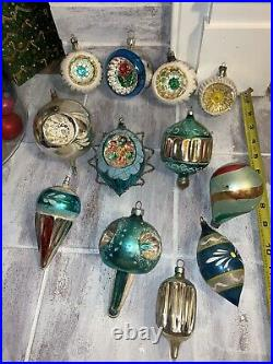 12 VTG CHRISTMAS GLASS ORNAMENTS Shiny Brite Wired Mica Triple Reflector Ribbed