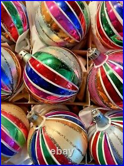 12 Vintage 1950s/60s Poland Colorful Striped Christmas Ornaments in Original Box