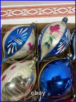 12 Vintage Large Glass Christmas Ornament Teardrop Poland-Polish Hand Painted