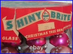 12 Vintage Pink SHINY BRITE MERCURY CHRISTMAS ORNAMENT BOX