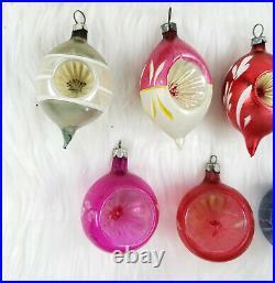 12 Vintage Poland Mercury Glass Indent Teardrop Round Christams Ornaments w Box