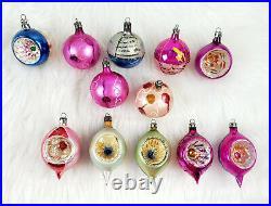 12 Vintage Poland Mica Teardrop Ball Mercury Glass Ornaments in Box