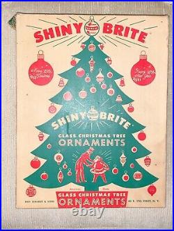 12 Vintage Shiney Bright Glass Christmas Ornaments Silver Flocked original box
