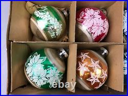 12 Vintage Shiny Bright Christmas Tree Hand Painted Glitter Glass Ball Ornaments