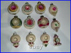 12 Vintage Shiny Brite Christmas Tree Ornaments Double Indents, Mica, Ufo