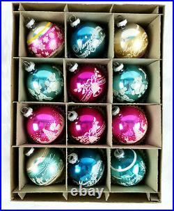 12 Vintage Shiny Brite Mica Stencil Mercury Glass Christmas Ornaments in Box