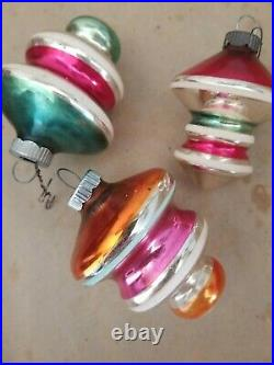 12 Vintage Shiny Brite Ornaments Pink/turquoise Atomic Mica Indent Ufo
