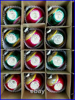 12 Vintage Shiny Brite Stripe Double Indent Mercury Glass Christmas Ornament Box