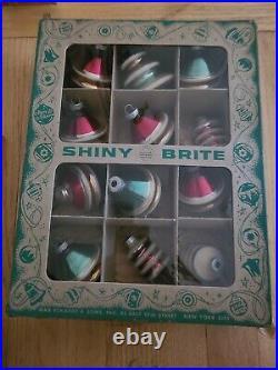 12 Vintage Shiny Brite UFO/Lantern Mercury Glass Christmas Ornaments