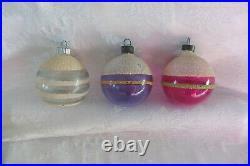 12 Vintage UNSILVERED MICA 2 SHINY BRITE & USA Striped Christmas Tree Ornaments