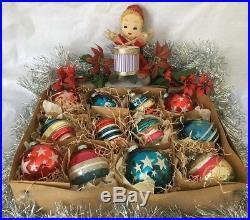 12 Vintage WWII Shiny Brite Patriotic MICA Mercury Glass Christmas Ornaments Lot