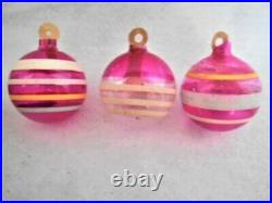 12 Vintage WWII Unsilvered Glass Striped Ornaments withPaper Hangers, Uncle Sam Box