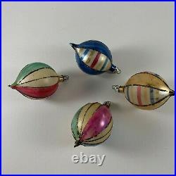12 Vtg Christmas Fantasia Poland Hand Painted Glass Teardrop Round Ornaments