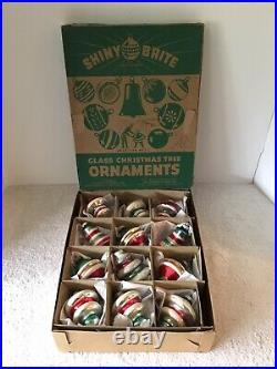 12 Vtg Shiny Brite Ufo Lantern Bell Mercury Glass Christmas Ornaments USA Box