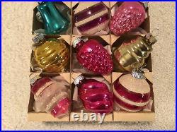12 Vtg Shiny Brite Unsilvered/silver Mica Lantern Bell Ball Christmas Ornaments