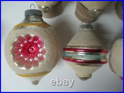 13 Vintage 1960's USA SHINY BRITE Glass Christmas Ornaments Frosted Geometric