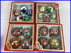 139 Huge lot of Vintage Mercury Glass Christmas Ornaments Stripes, Shiny Brite