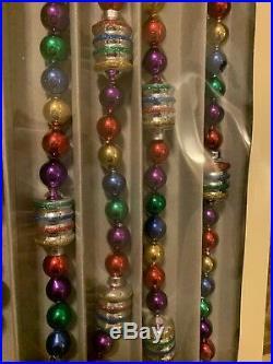 14 Ft Christopher Radko Shiny Brite Glass Garland Vintage 1940 Design Christmas