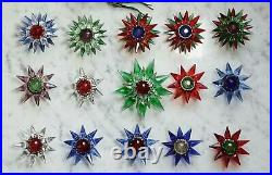 15 Old Matchless glass Stars, christmas tree lights, ca. 1930 (# 13810)