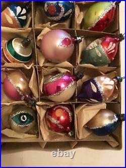 15 VTG Christmas Ornament Mercury Glass Hand Painted Indent Teardrop Poland Tiny