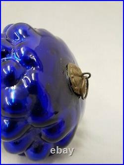 1890's Vintage Antique 4.75 Asymmetrical Cobalt Blue Glass Grape Cluster Kugel