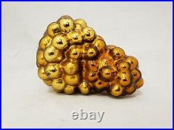 1890's Vintage Antique 4.75 High Asymmetrical Gold Glass Grape Cluster Kugel