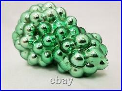 1890's Vintage Antique 4.75 High Asymmetrical Green Glass Grape Cluster Kugel