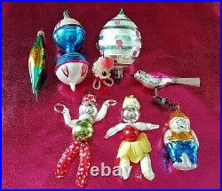 1950s / 60s Vintage Glass Christmas Tree Decorations x 8 Stunning