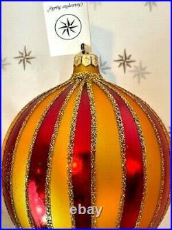 1997 Crimson Stripes Deluxe Christopher Radko Ornament 97-301-0 RARE Ball Drop
