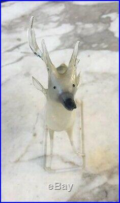 2 VTG German Blown Mercury Glass 5 Reindeer Christmas Ornament Germany DEER