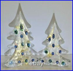 2 Vintage Art Glass Murano Millefiori Christmas Tree Paperweight GUMPS 6.5 & 8