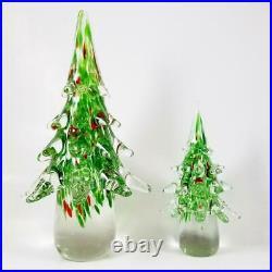 2 Vintage MURANO Art Glass Christmas Trees Set 12 & 7.5 Lot Red Green White