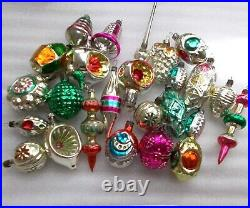 24 Vintage Russian USSR Silver Glass Christmas Ornaments Xmas Decoration Old Set