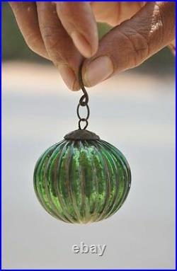3 Pc Vintage 1.75'' Ribbed Silver, Golden & Green Original German Glass Kugels