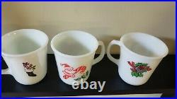 3 Rare Vintage Pyrex Christmas Milk Glass Mugs