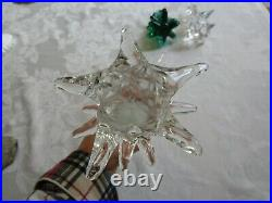 3 Vintage Crystal Christmas Trees Art Glass Figurines 2 Clear 1 Green Tuscany