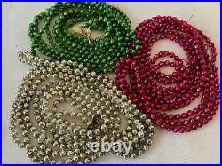 3 Vtg Mercury Glass Christmas Garland Feather 1/4 Beads 9 ft green pink silver