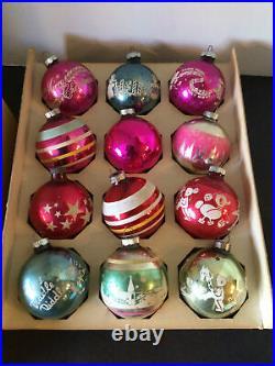 4 Boxes Vtg Shiny Brite Stencil Stripe Solid Mica Glitter Mercury Tree Ornament