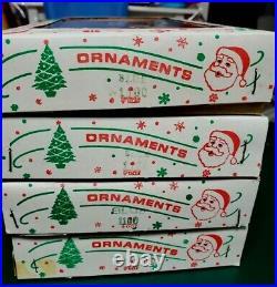 4 Vintage Box Teardrop Icicle Mercury Glass Christmas Ornaments Poland Blue 5'