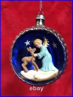 4 Vintage Mercury Glass 3D Diorama Indent Italy Christmas Ornaments Santa Mica