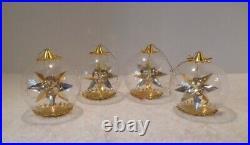 4 Vintage Resl Lenz West Germany Foil Spinner Glass Gold-gold Star Xmas Ornament