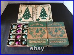 5 Dozen Vtg Shiny Brite Indent Grape Ribbed Striped Solid Mercury Ornaments Box