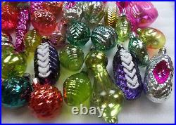 52 Big Set Vintage Russian Silver Glass Christmas Ornaments Xmas Decorations